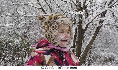 peu, faire idiot, neige, figure, girl, plonge