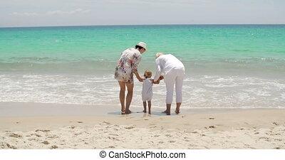 peu, famille, elle, bord mer, girl, jouer