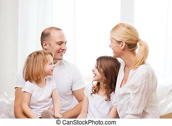 peu, famille, filles, deux, maison, sourire