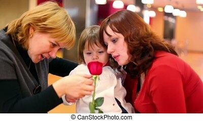 peu, femelles, regard, rose, deux, girl