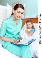 peu, femme, diagnostic, docteur, écriture, presse-papiers, malade, girl