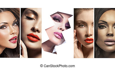 peu, femmes, multiple, joli, portrait