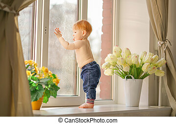 peu, fenêtre., regarde, garçon