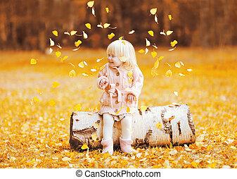 peu, feuilles, voler, ensoleillé, jaune, jouer, automne, chaud, enfant, amusement, avoir, jour, heureux