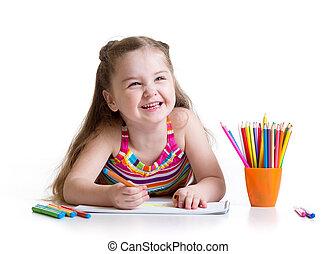 peu, feutre, girl, dessin, préscolaire, heureux