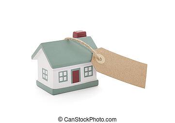 peu, ficelle, maison, attaché, étiquette, fond, vide, blanc