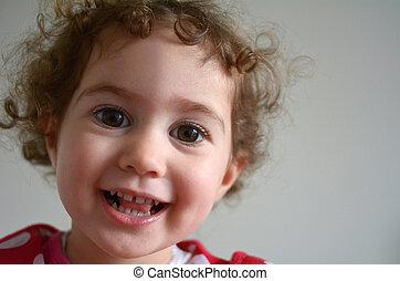 peu, figure, appareil photo, sourire, girl, heureux