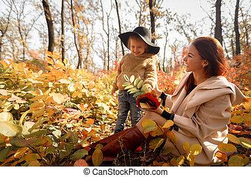 peu, fille, automne, mère, amusement, girl, avoir