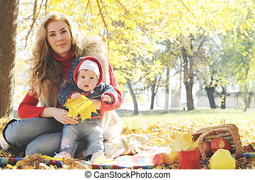 peu, fille, elle, automne, jeu mère