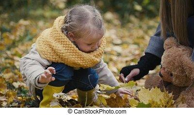 peu, fille, elle, mère, -, enfant, parc, haut, automne, maman, feuille, fin, girl, jouer, érable, donne