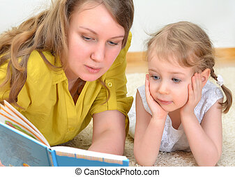 peu, fille femme, livre, jeune, lire