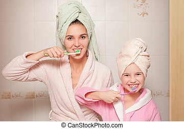 peu, fille, toothbrushes., mère