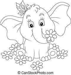 peu, fleurs, éléphant