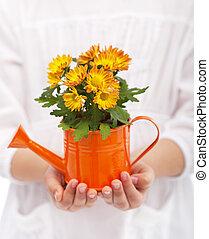 peu, fleurs, girl, mains