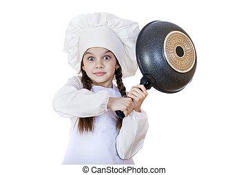peu font cuire, friture, sourire, chapeau, girl, moule