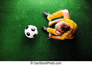 peu, football, contre, herbe, joueur, unrecognizable, vert,...