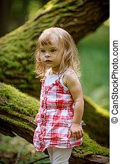 peu, forêt, girl