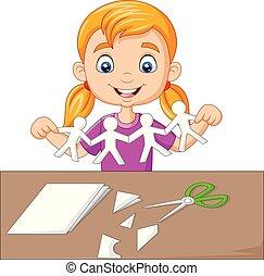 peu, gens, fabrication papier, girl, dessin animé