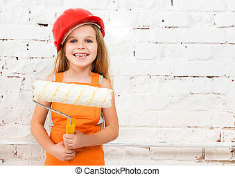 peu, girl-worker, à, peindre cylindre