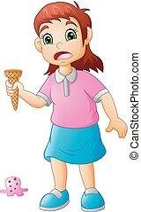 peu, glace, triste, girl, tomber, crème