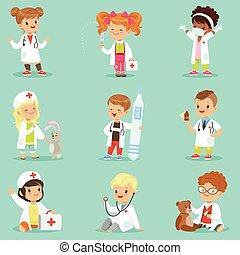 peu, gosses, docteur, habillé, monde médical, filles, jouer, équipement, vecteur, médecins, illustrations, jouet, sourire, adorable, set., garçons