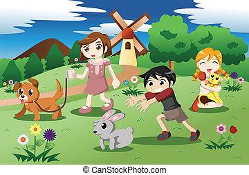peu, gosses, jardin, animaux familiers
