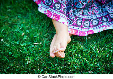 peu, herbe, girl, séance