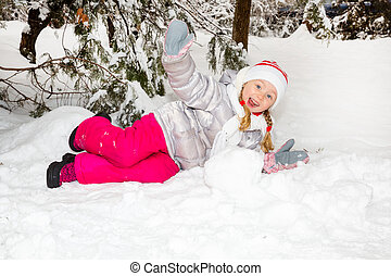 peu, heureusement, ensoleillé, grimacer, hiver, appareil photo, portrait, girl, adorable, jour, heureux