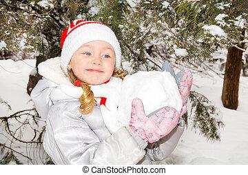 peu, heureusement, ensoleillé, haut, grimacer, hiver, appareil photo, fin, portrait, girl, adorable, jour, heureux