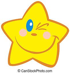 peu, heureux, étoile, cligner