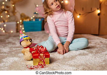 peu, heureux, cadeau, enfant
