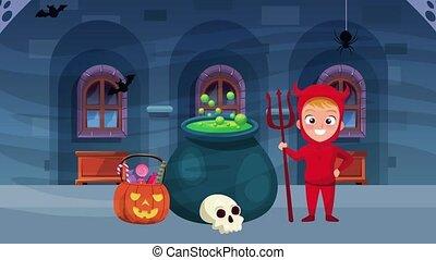 peu, heureux, chaudron, scène halloween, animé, diable, ...