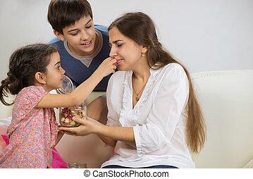 peu, heureux, enfants, elle, mère