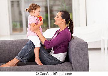 peu, heureux, fille, mère