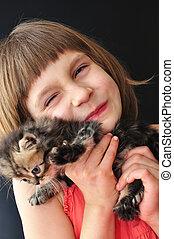 peu, heureux, girl, chat