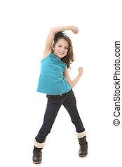 peu, heureux, girl, danse