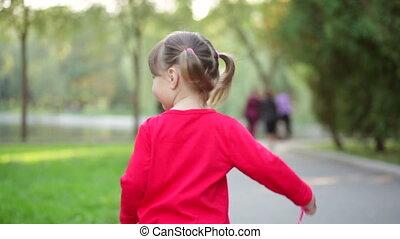 peu, heureux, girl, parc