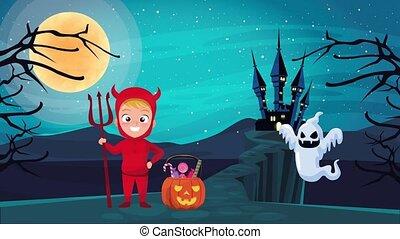 peu, heureux, halloween, fantôme, scène, animé, diable