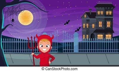 peu, heureux, hanté, halloween, maison, scène, animé, diable