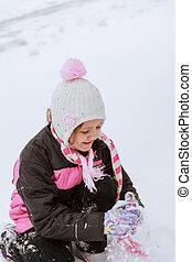 peu, hiver, amusant, girl, adorable, jour