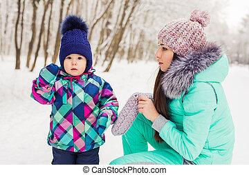 peu, hiver, elle, avoir, maman, amusement, girl, jour