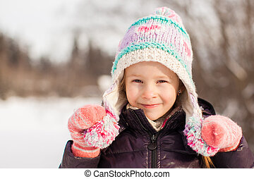 peu, hiver, ensoleillé, neige, portrait, girl, adorable, jour, heureux