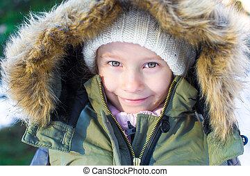 peu, hiver, ensoleillé, neige, portrait, girl, jour, heureux