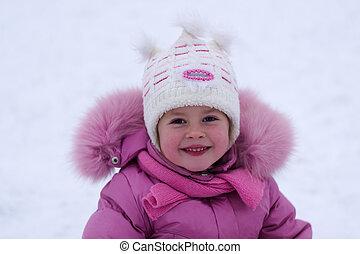 peu, hiver, girl