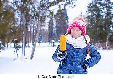 peu, hiver, maïs sucré, parc, girl, adorable