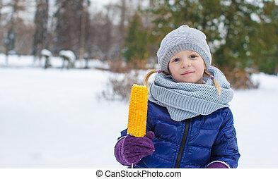 peu, hiver, maïs sucré, parc, girl