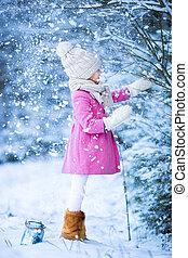 peu, hiver, neige, avoir, forêt, dehors, amusement, girl, adorable, noël