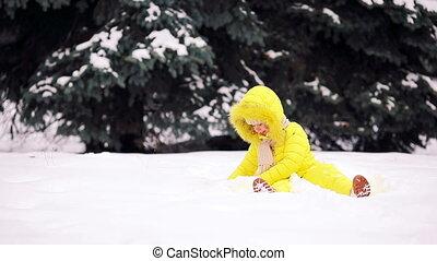 peu, hiver, neige, dehors, girl, adorable, jour
