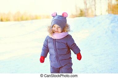 peu, hiver, neige, gai, enfant, portrait, jour