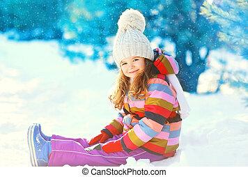 peu, hiver, neige, jouer, enfant, sourire, jour, heureux